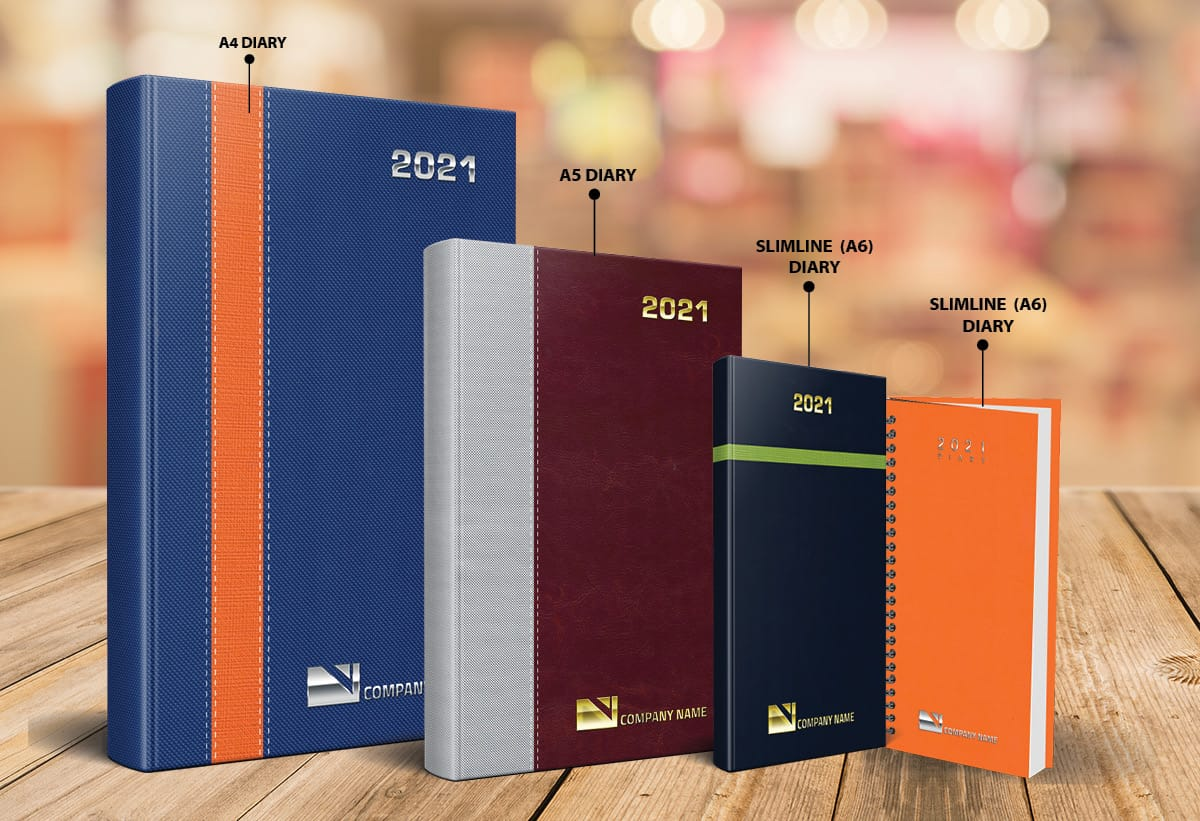 Diary Sizes Available